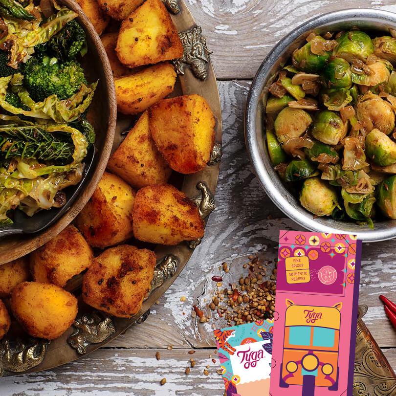 Bombay Roasted Potatoes & Winter Greens Sabji